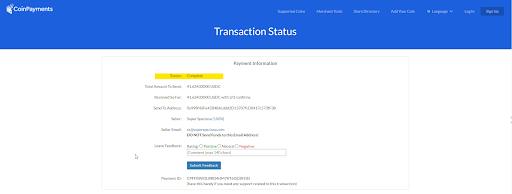 Order and transaction status.